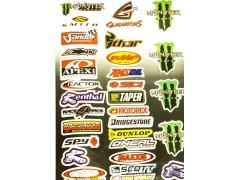 Наклейки виниловые на мотоцикл лист 50*30 см (А3) B025 Monster Scott