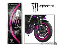 "Наклейки на колеса 10"" Monster Energy розовые"