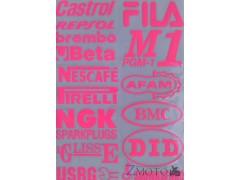 Наклейки виниловые на мотоцикл 31*20 см (A4) под лак NGK,Castrol,Fila розовый